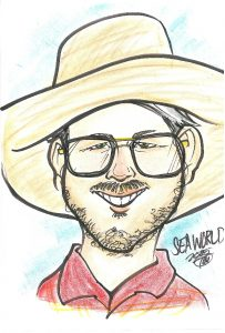 A drawing of Richard Lowe from a trip to Sea World